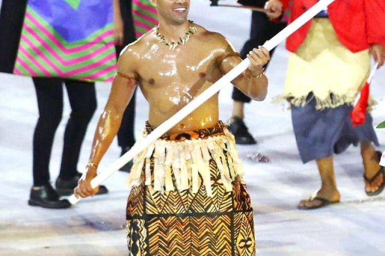 Tonga's Shirtless Flag Bearer Was a Standout Star at the 2016 Rio Olympics Opening Ceremony